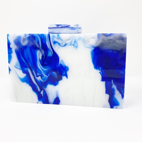 Closet Rehab Handbags - Acrylic Party Box in Blue and White